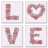 Слова по номерам LOVE цветы, 18x18 см, подарочная упаковка, Идейка