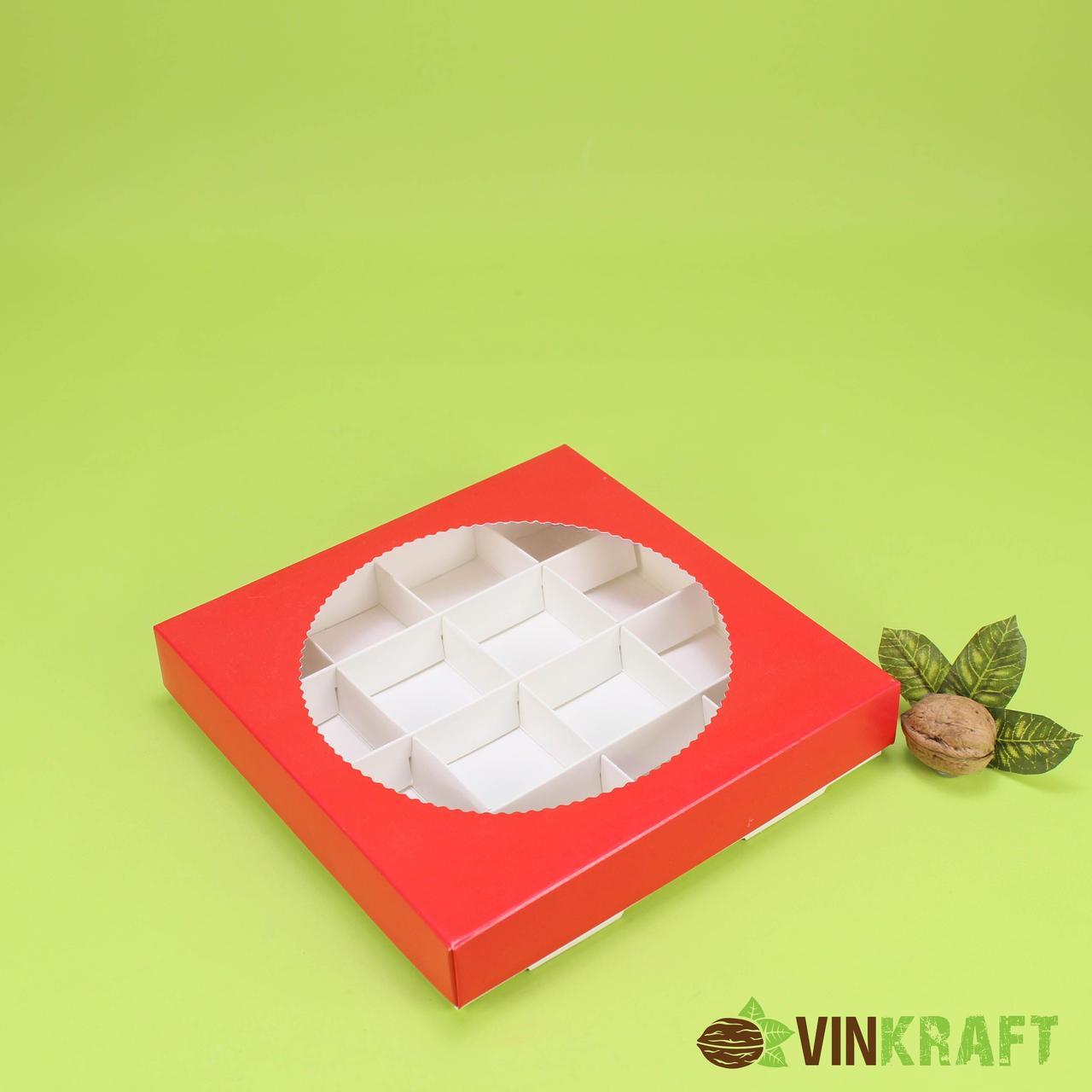 Коробка 200*200*35 для цукерок (16 шт) з круглим, червона