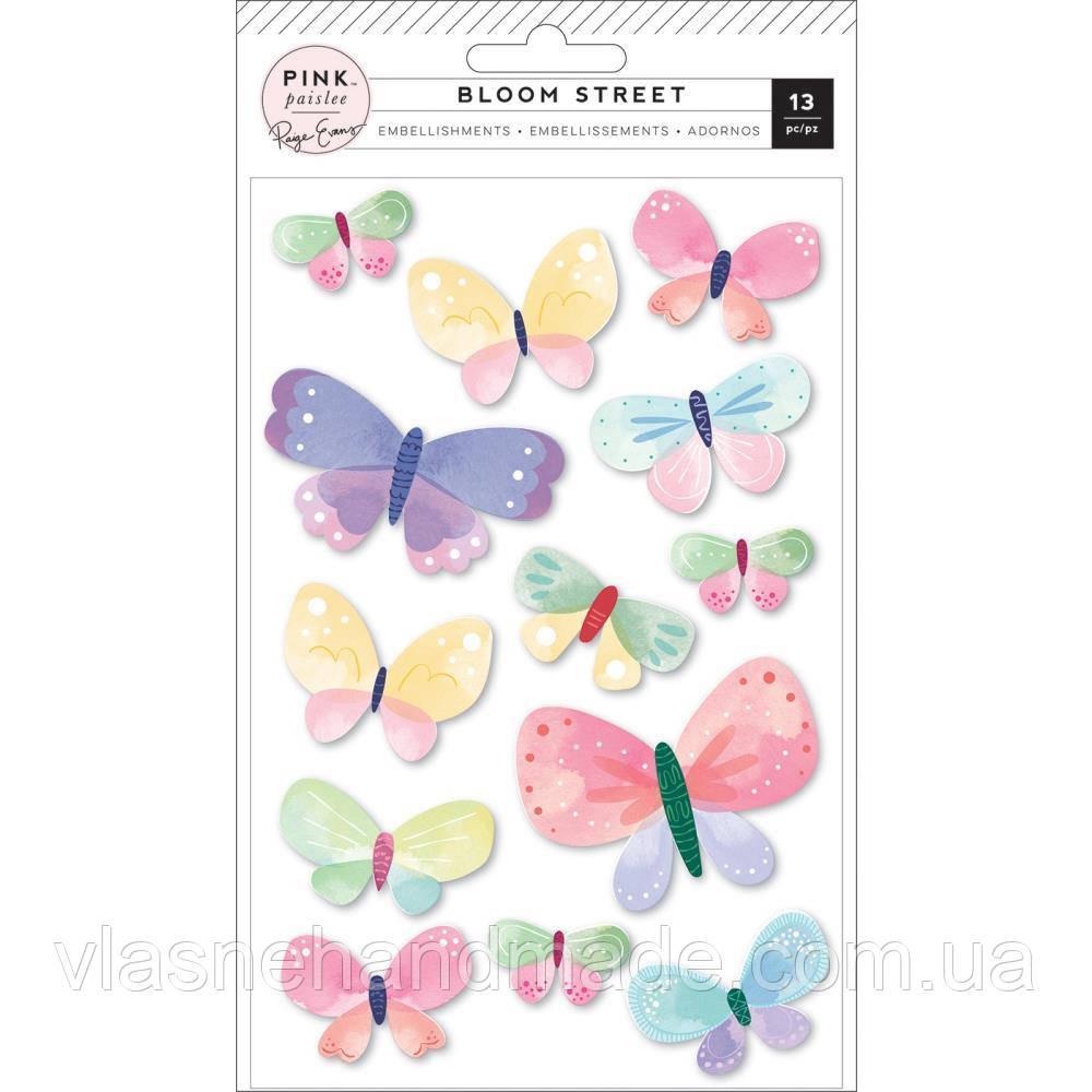 Наклейки 3D - Butterflies - Bloom Street - Paige Evans - 13 шт.