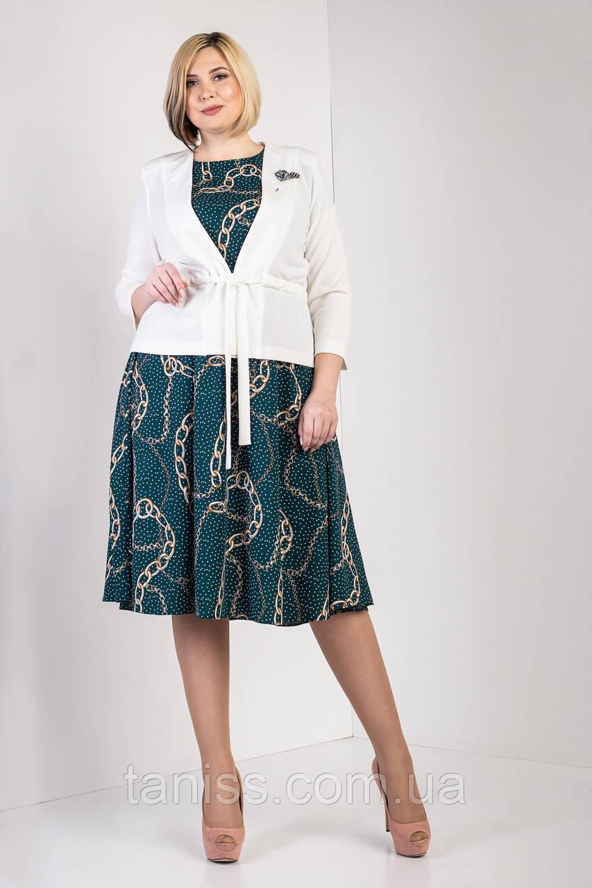 "Женский  комплект,платье жакет "" Лотта"",ткань креп-дайвинг,шифон,размеры 52,54,56,58(023) бутылочный ,сукня"