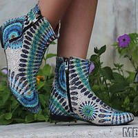 Тканевые женские стильные ботиночки весна/осень из прошвы (зелено-голубой принт) . Арт-0117, фото 1