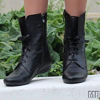 Черные стильные женские ботинки из натуральной кожи на шнурках и молнии. Арт-0118, фото 1