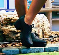 Женские черные туфли-ботинки из натуральной кожи на толстой подошве. АРТ-0102