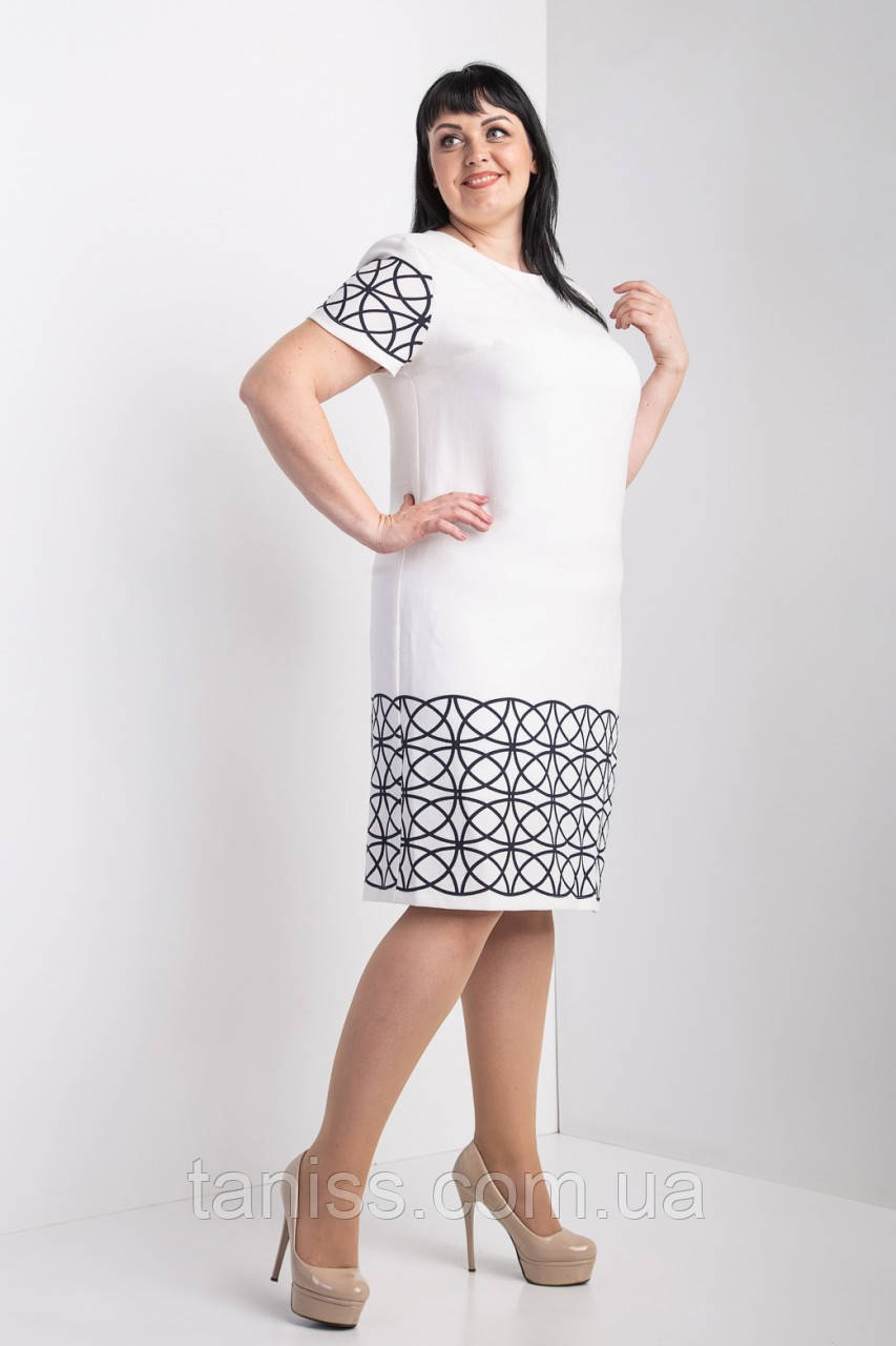 """Женское,праздничное,офисное платье """"Амелия"""" ,ткань под лен, размеры 54,60 молочный,сукня"""