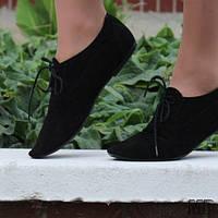 Черные стильные женские замшевые туфли на шнуровке (натуральная замша). Арт-0088. , фото 1