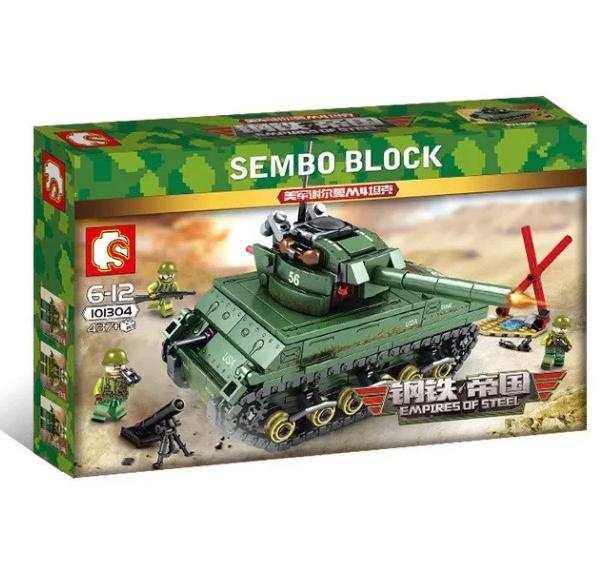 Конструктор Sembo Block Армия Военный Танк Sherman M4 437 деталей