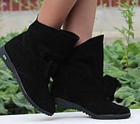 Красивые модные стильные черные женские ботинки Бантик из натурального замша. АРТ-0113, фото 1