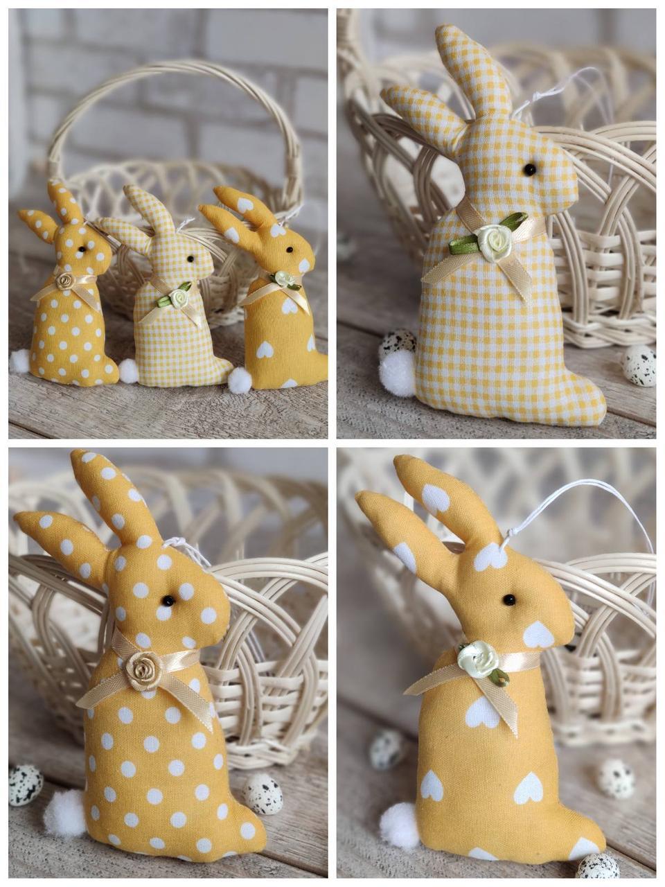 Кролик ручної роботи до Великодня, пасхальний, іграшковий, текстильний, 15 см., 55/45 (цена за 1 шт. + 10 гр.)
