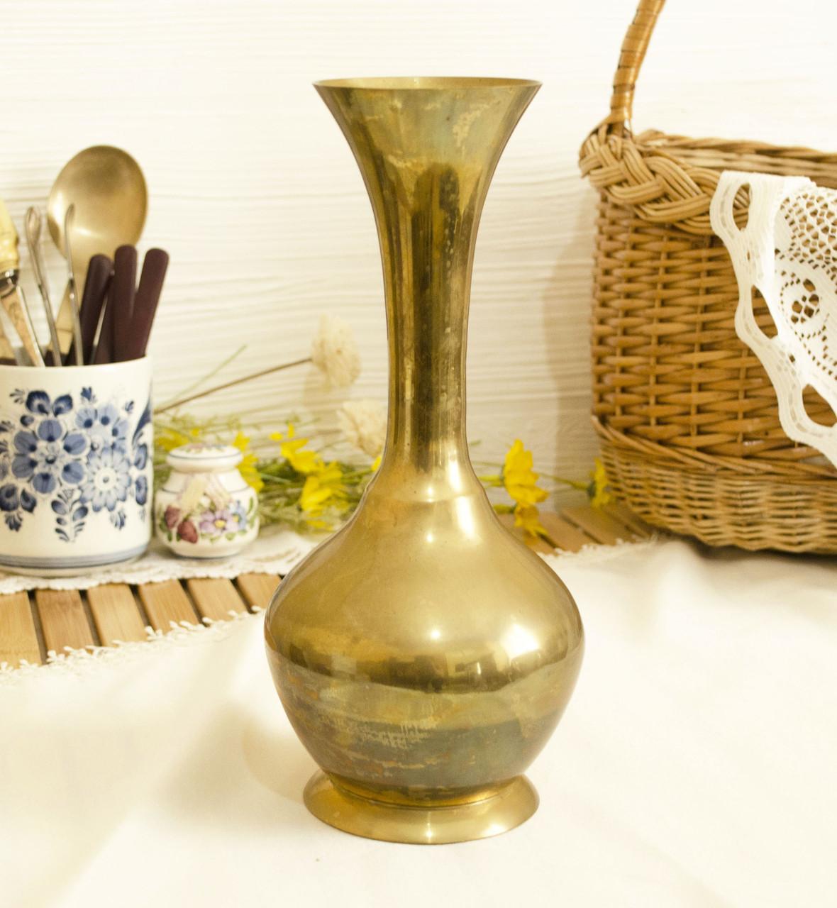 Большая индийская латунная ваза, бронза, латунь, Индия, 26 см