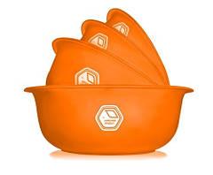 Набор мисок 0,7 л + 1, 5л + 2 л +3 л оранжевый полупрозрачный