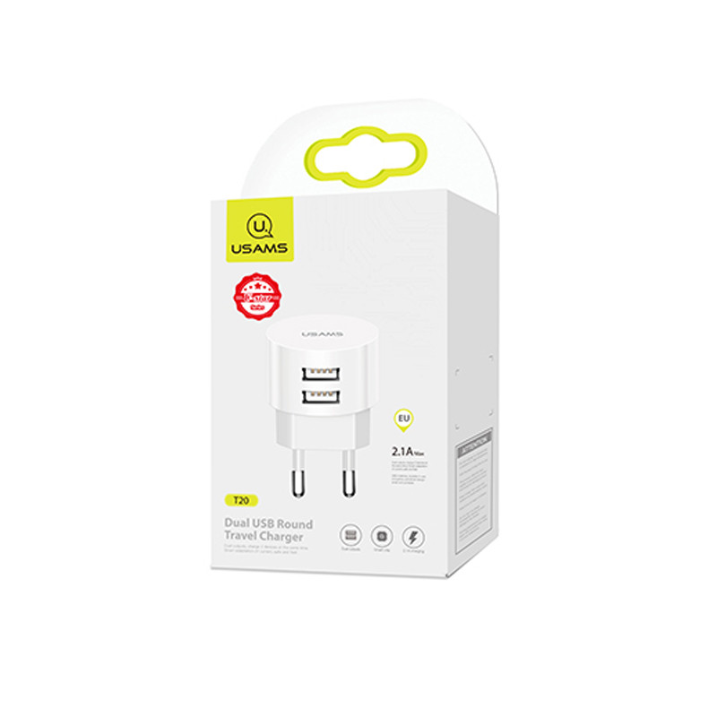 СЗУ USB Type-C | Wall Charger USAMS T20 Dual Round Travel + U35 3IN1 Charging Cable