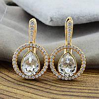 Серьги размер 20*9 мм,с кристаллами Swarovski, позолота 750 пробы,медицинское золото,позолота 18К