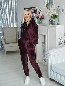 Женский велюровый костюм бордо