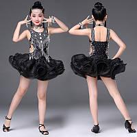 Платье для бальных танцев серо- черное с блестками