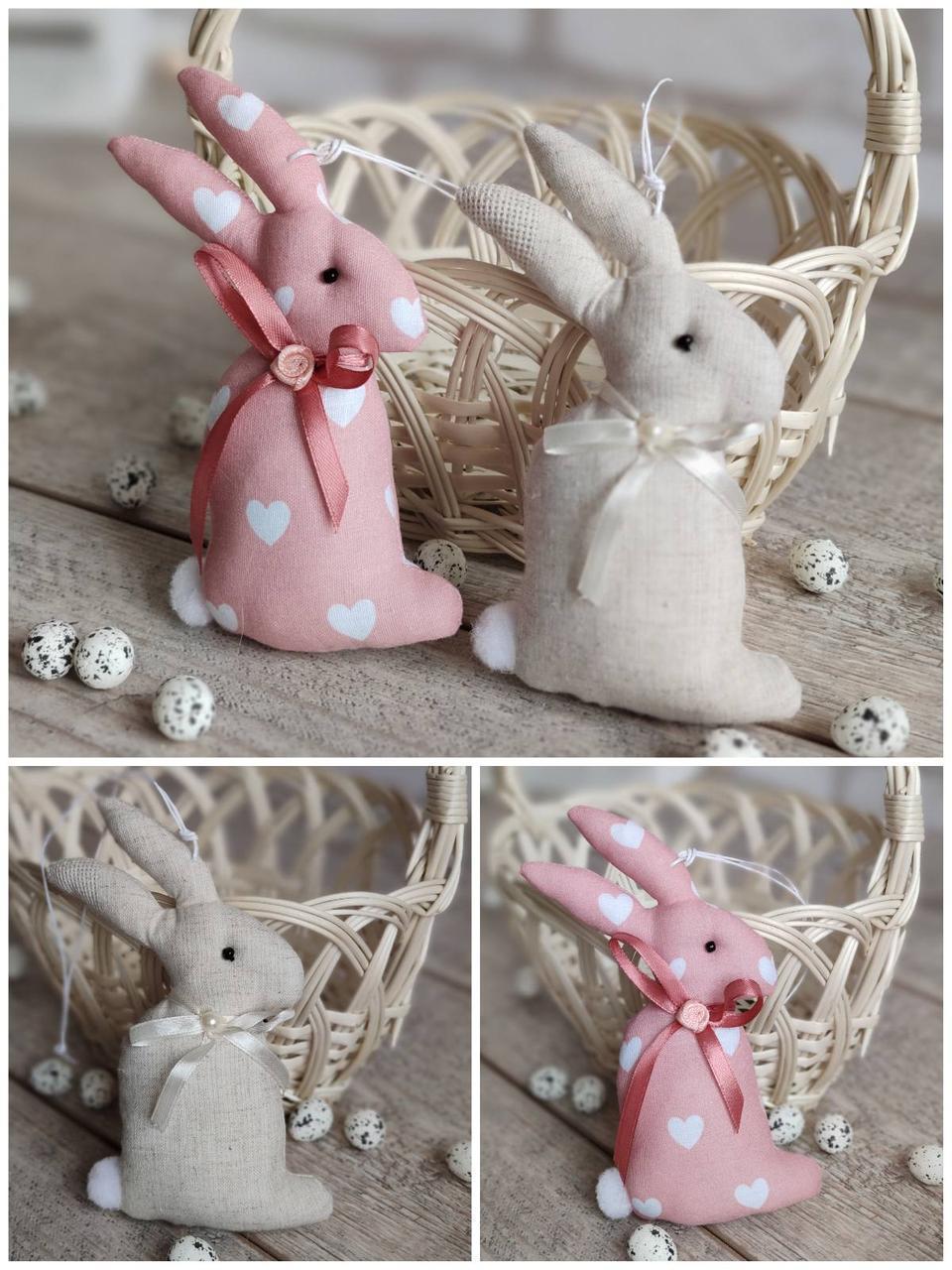 Кролик пасхальний ручної роботи, для віночка, для корзини, текстильний, 14-16см., 45/39 (цена за 1 шт. + 6гр.)