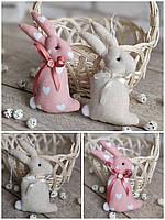 Кролик пасхальний ручної роботи, для віночка, для корзини, текстильний, 14-16см., 45/39 (цена за 1 шт. + 6гр.), фото 1
