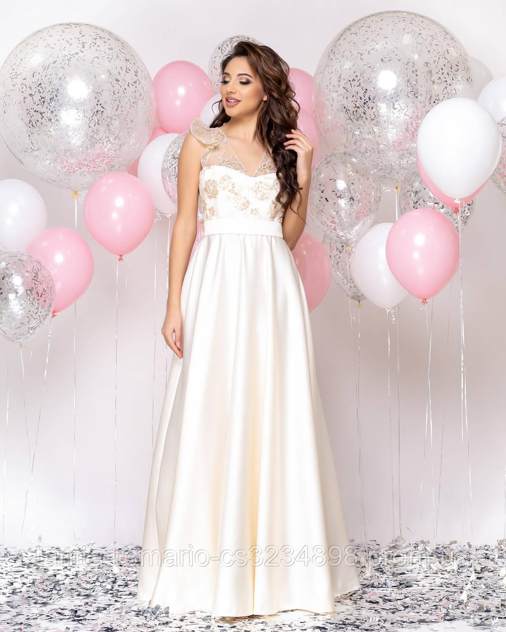 Випускна сукня молочного кольору, атласна з мереживом L