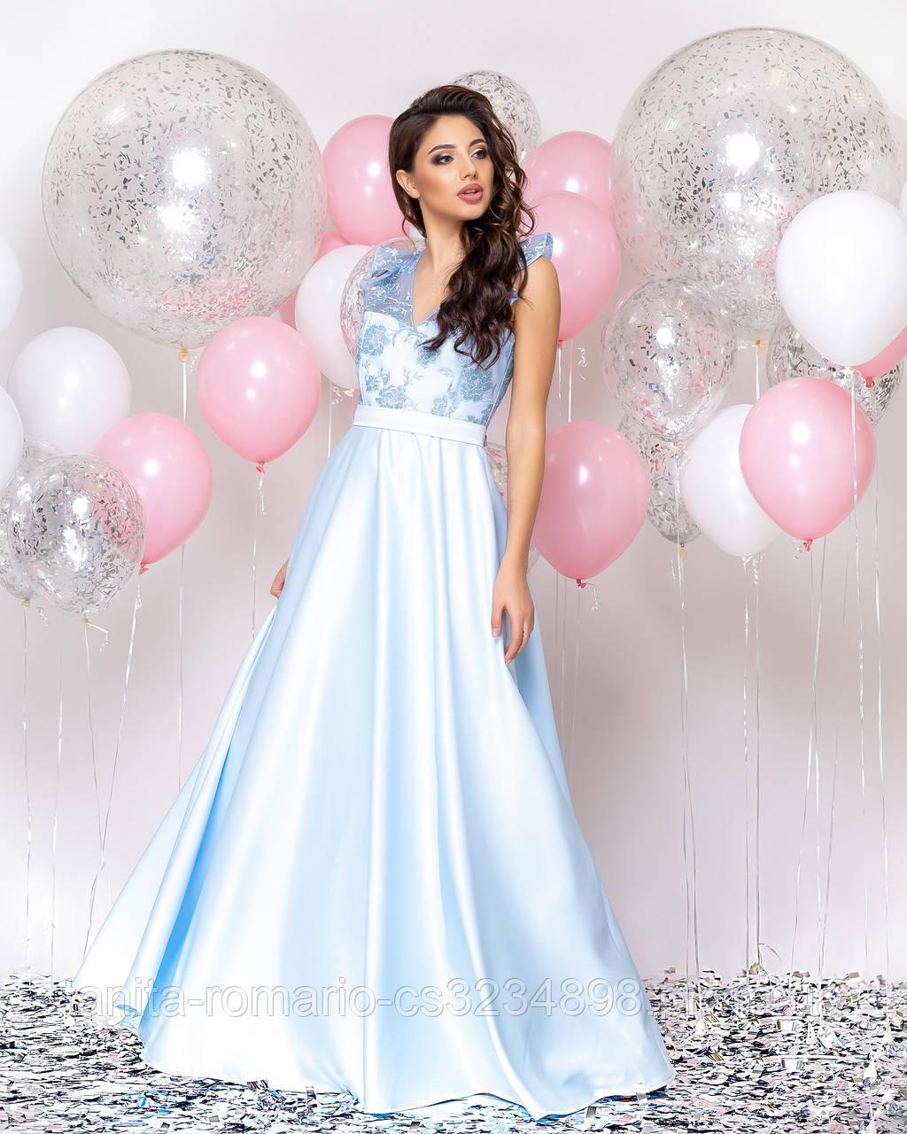 Випускна сукня блакитного кольору, атласна з мереживом