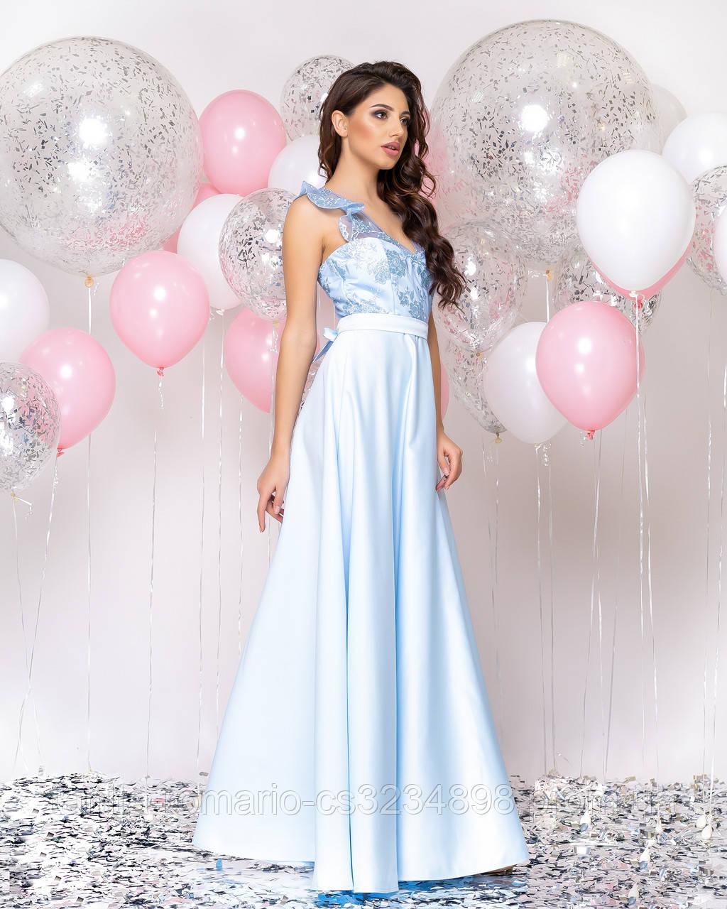 Випускна сукня блакитного кольору, атласна з мереживом L