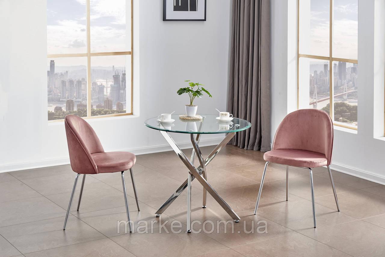 Круглий скляний стіл на хромованих ніжках D80