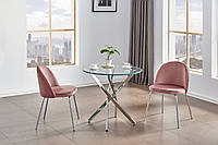 Круглий скляний стіл на хромованих ніжках D80, фото 1