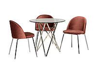 Круглый стеклянный стол на хромированных  ножках D80