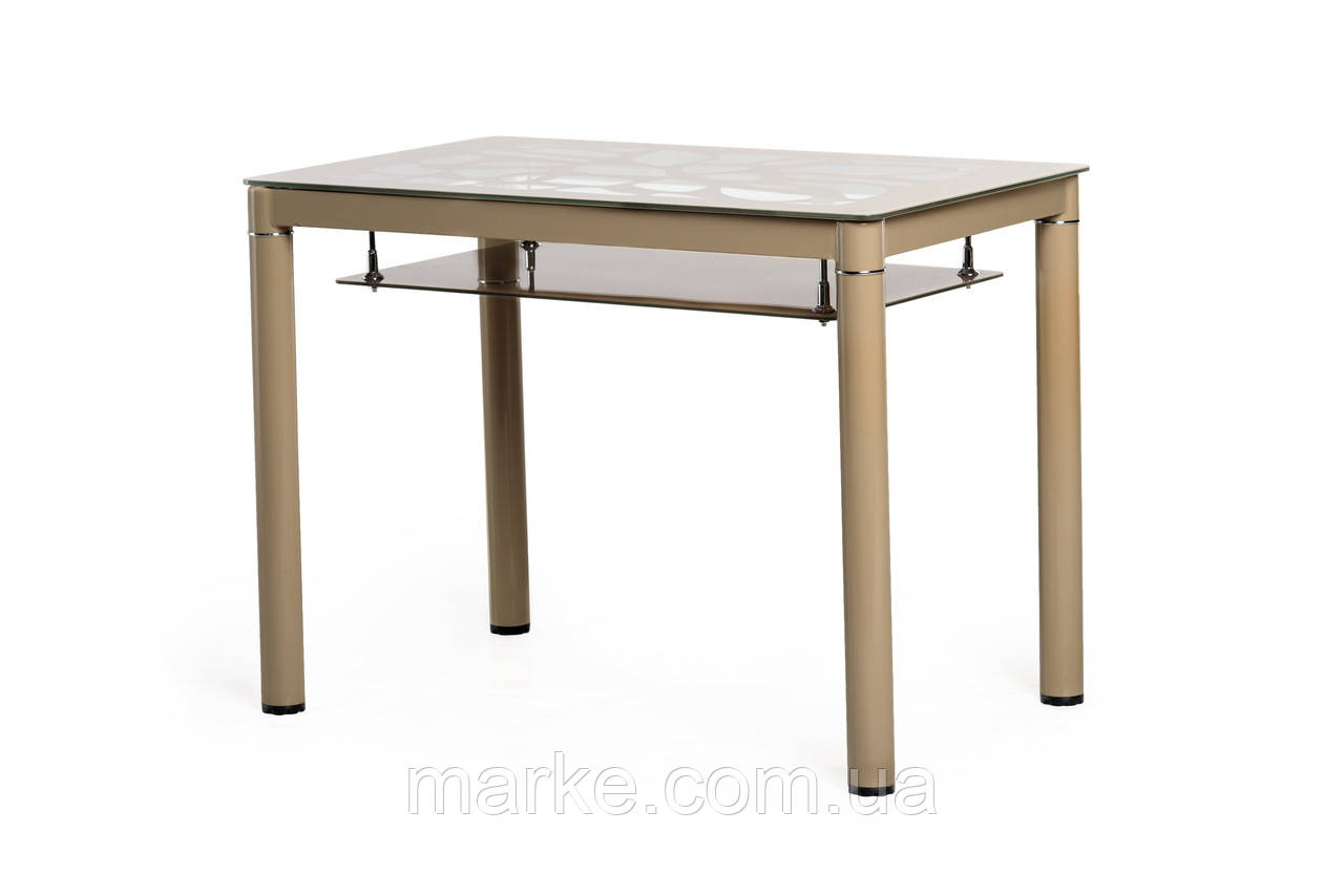 """Стеклянный стол с полкой """"Т-300-2 кофе мокко"""" 100*60 см."""