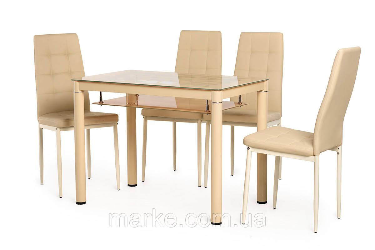 """Скляний стіл з полицею """"Т-300-2 кремовий"""" 100*60 див."""