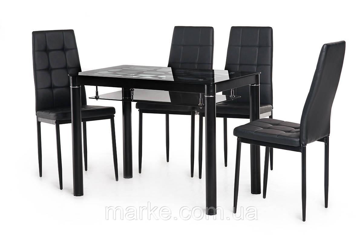 """Стеклянный стол с полкой """"Т-300-2 черный"""" 100*60 см."""