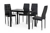 """Стеклянный стол с полкой """"Т-300-2 черный"""" 100*60 см., фото 1"""