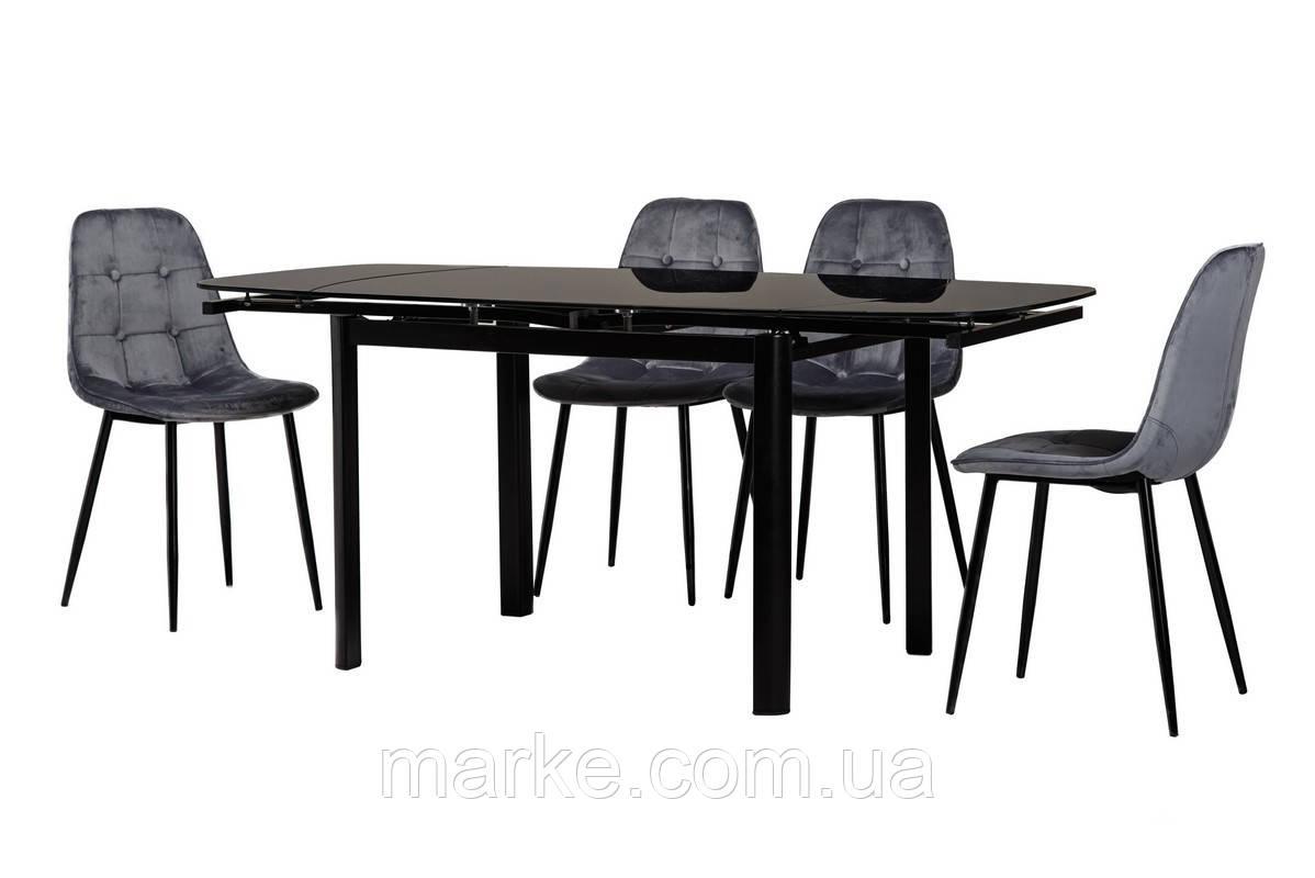 Стекляный раскладной стол черного цвета 120-180*80 см.