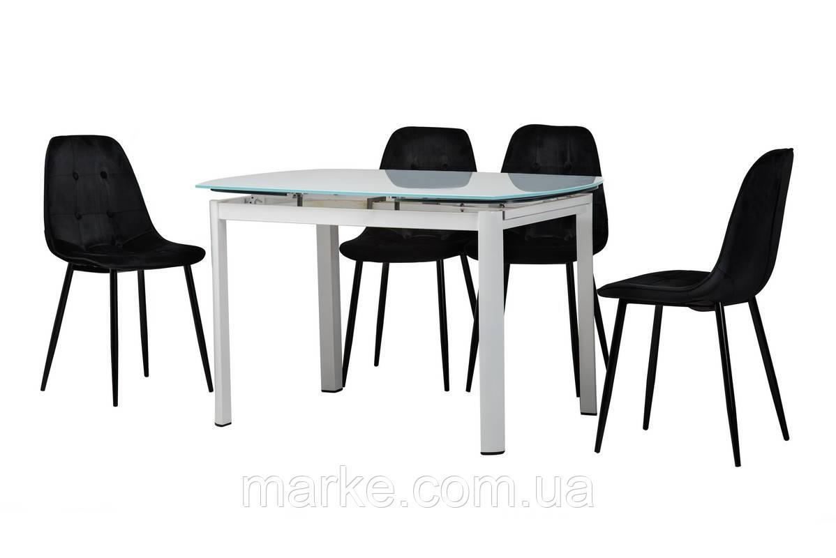 Стекляный раскладной стол  белого цвета 120-180*80 см.