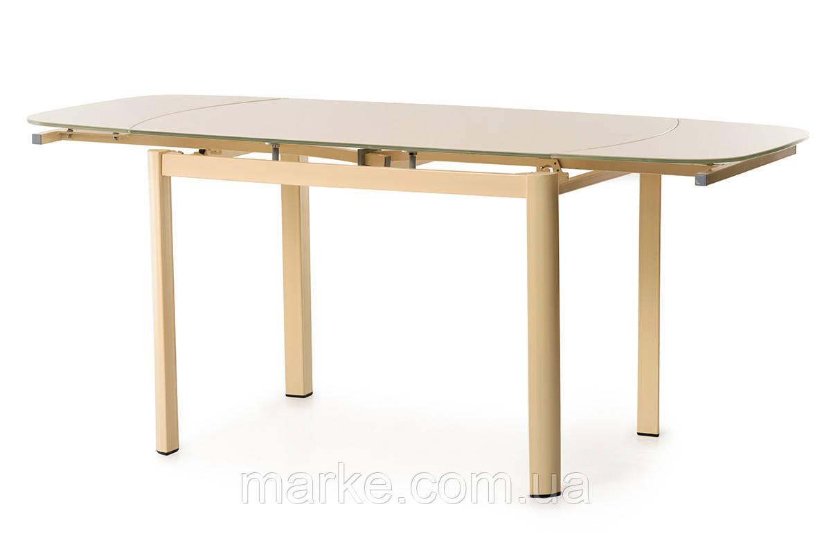 Скляний розкладний стіл кремового кольору 120-180*80 див.