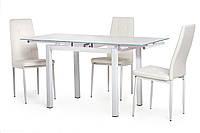 Кухонный стеклянный раздвижной стол белого цвета 90-150*70 см.