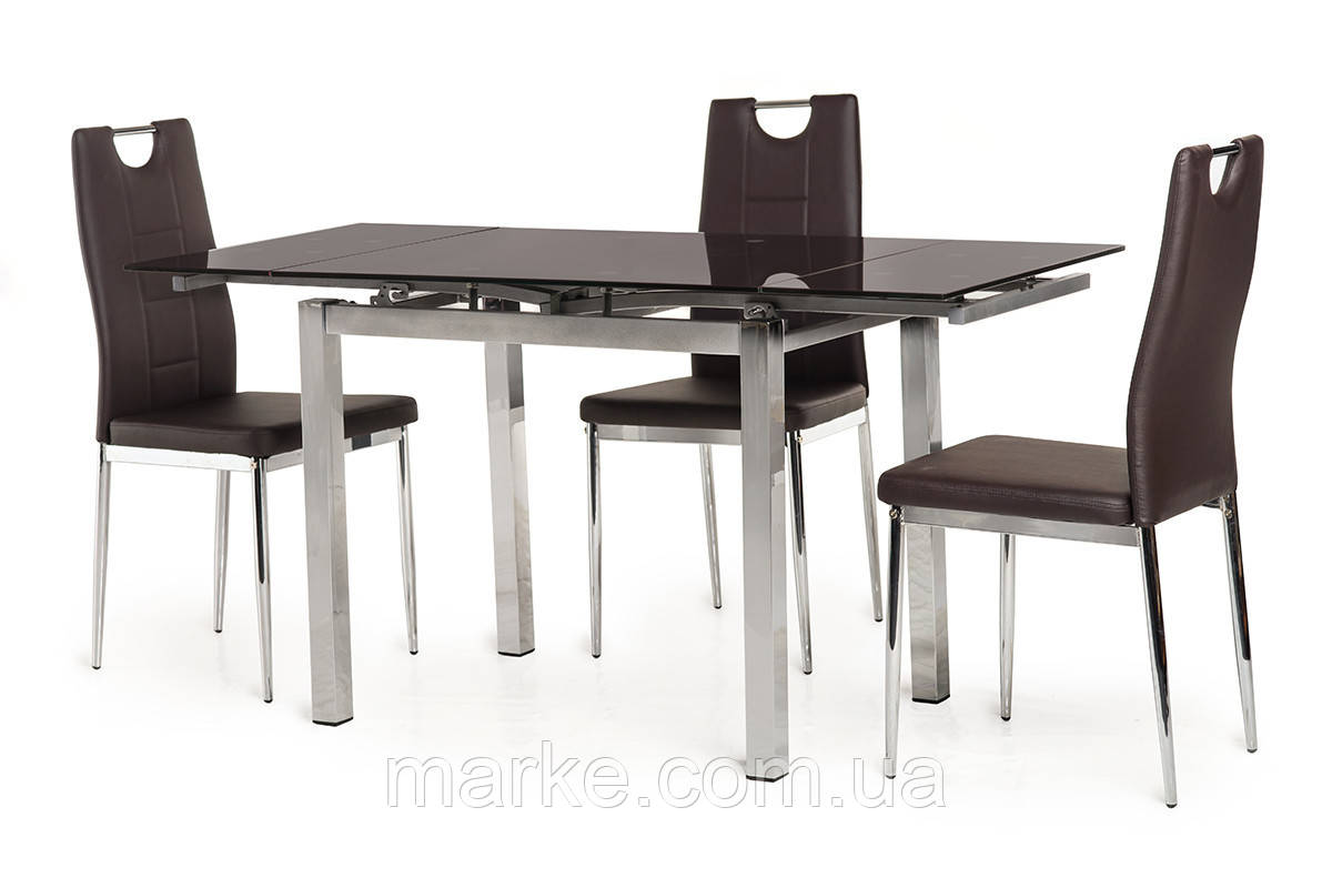 Кухонный стеклянный раздвижной стол коричневого цвета 90-150*70 см.