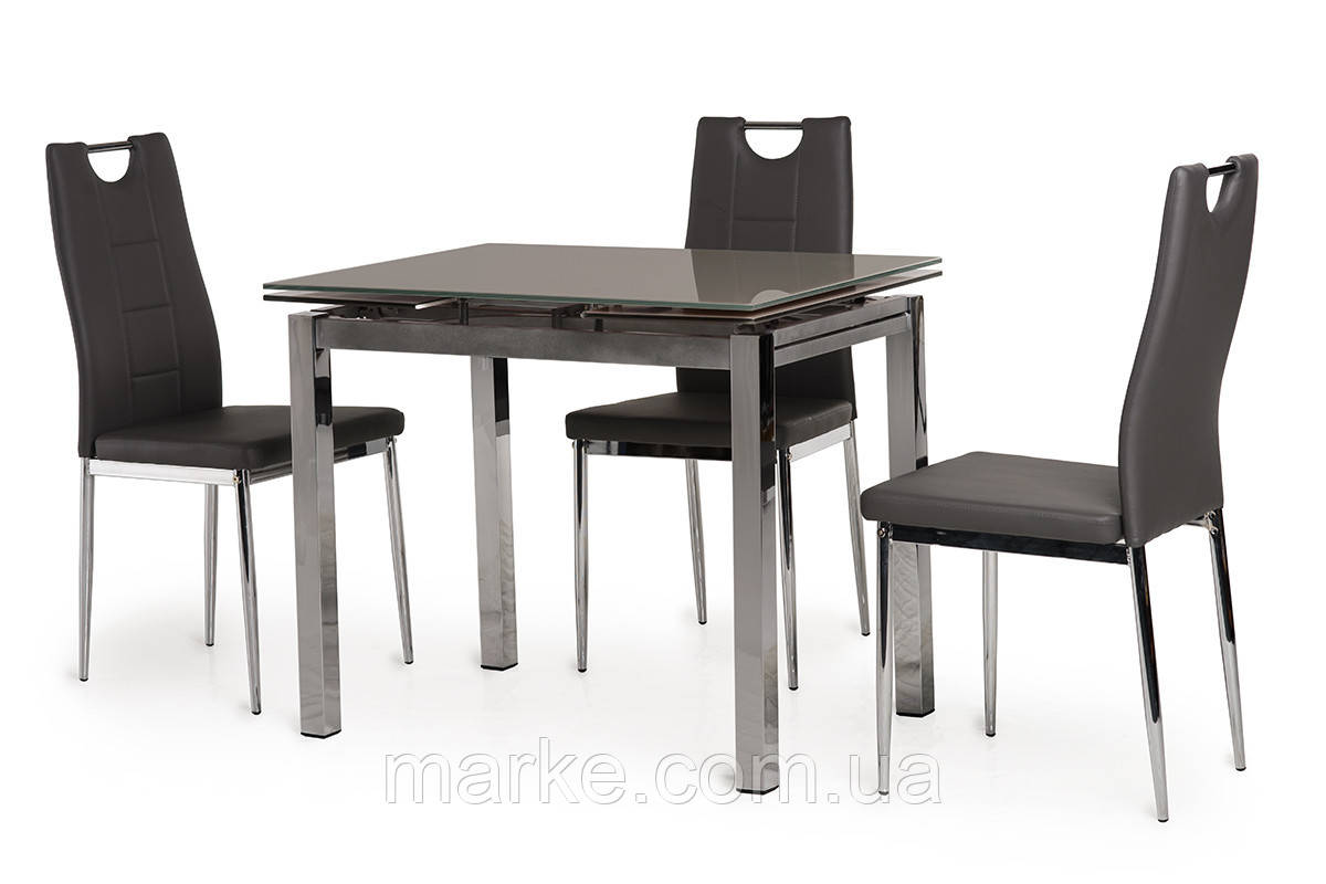 Кухонний скляний розсувний стіл сірого кольору 90-150*70 див.