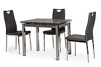Кухонний скляний розсувний стіл сірого кольору 90-150*70 див., фото 1