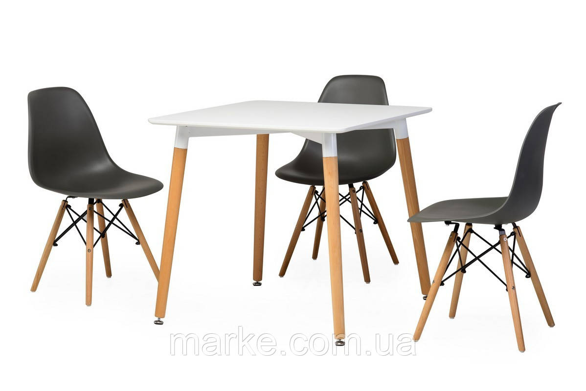 """Нераскладной квадратный стол """"ТМ-30 белый"""" 80*80 см."""