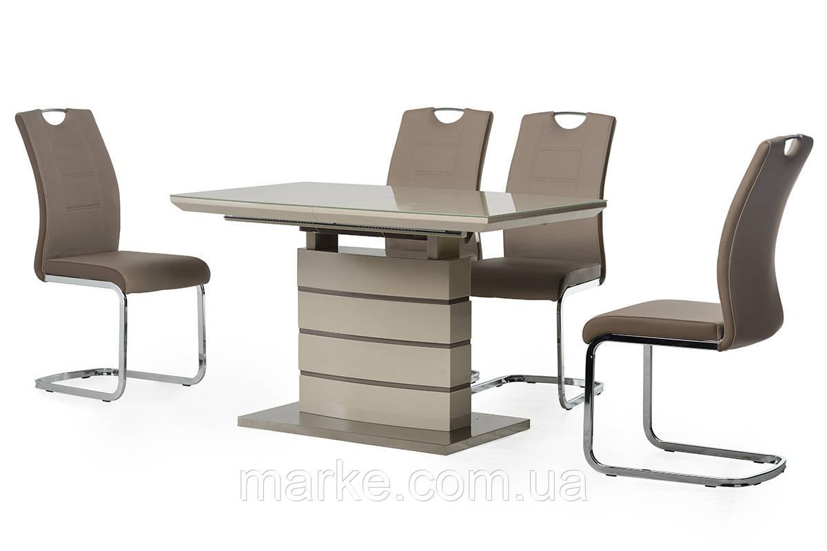 Раскладной стол  со стекляной столешницей 120-160*80 см. капучино-латте