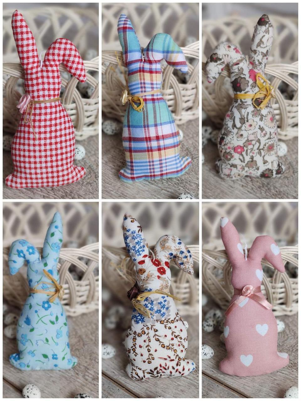 Кролик декоративний для віночка, для корзини, ручної роботи, текстильний, 14-16см., 45/39 (цена за 1 шт.+6гр.)