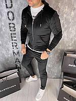 Мужской велюровый спортивный костюм Doberman D9320 черный