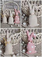Кролик ігрушечний для пасхального декора, для віночка, для корзини, 14-16см., 45/39 (цена за 1 шт.+6гр.)