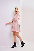 Пудровое короткое платье с юбкой воланом размеры XS,S,M
