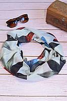 Воздушный шарф снуд в цветы четырехцветный, фото 1