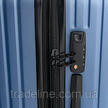 Дорожная Чемодан 2/1 ABS-пластик 8340 blue змейка, фото 3