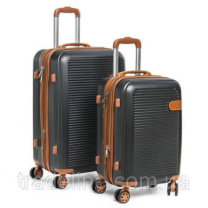 Дорожная Чемодан 2/1 ABS-пластик 8387 grey змейка, фото 2