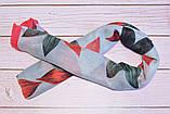 Воздушный шарф снуд в цветы красный, фото 3