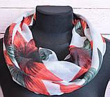 Воздушный шарф снуд в цветы красный, фото 2