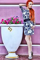 """Платье трикотажное """"Цветы"""" с поясом"""