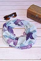 Воздушный шарф снуд в цветы сиреневый
